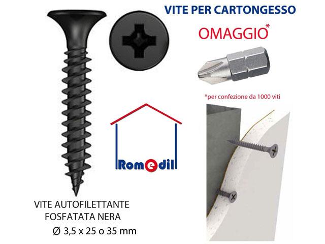 NERO 50 X 3,5 mm CARTONGESSO VITI X 1000